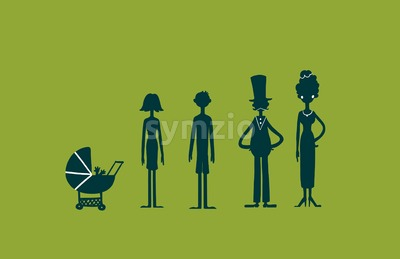 Family characters silhouette on green screen background. Digital background raster illustration. Stock Photo