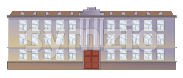 Institution front facade with columns and architectural decor. Digital background raster illustration. Stock Photo