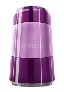 Metal purple can of soda or juice isolated on white. Digital background raster illustration. Stock Photo