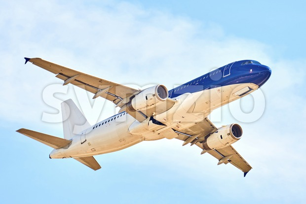 Airplane show in Chisinau International Airport. Close-up shot of the aircraft. Moldova Stock Photo