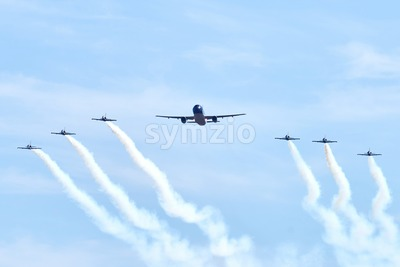 Airplane show in Chisinau International Airport. Close-up shot of the aircrafts. Moldova Stock Photo