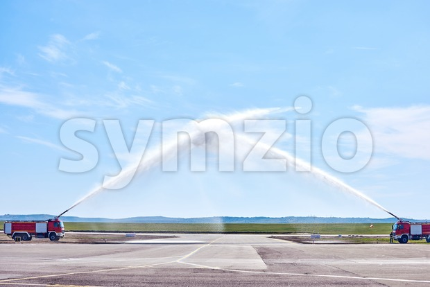 Airplane water salute procedure in Chisinau International Airport. Moldova Stock Photo