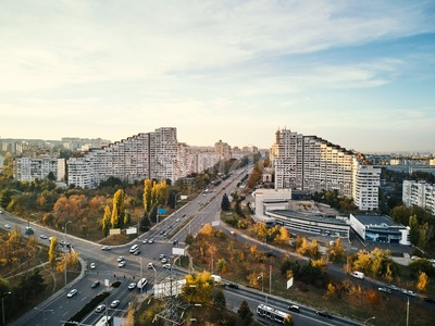 Aerial shot of Gates of the City at sunset. Blue sky with clouds. Chisinau, Moldova Stock Photo