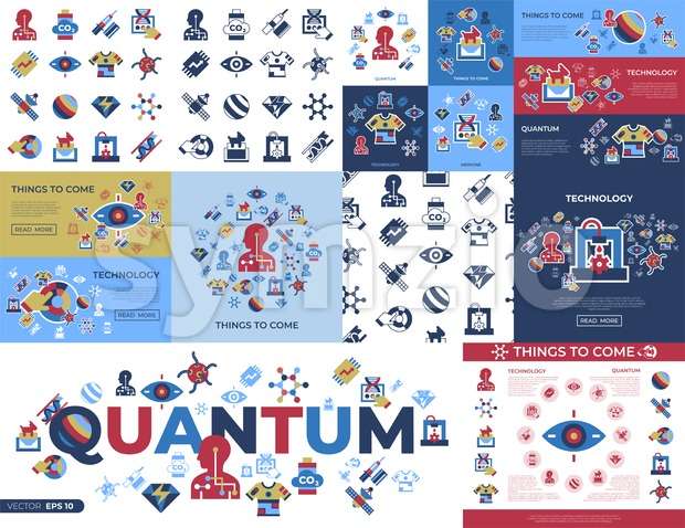 Digital vector quantum things to come technology icons set, flat style infographics