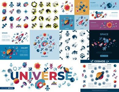 Digital vector space galaxy and universe icons set, flat style infographics Stock Vector