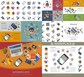 Digital vector freelance creative workplace icons set, flat style infographics Stock Vector