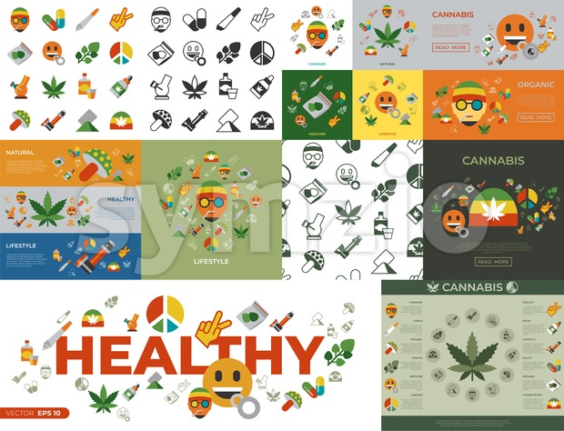 Digital vector cannabis healthy medicine icons set, flat style infographics