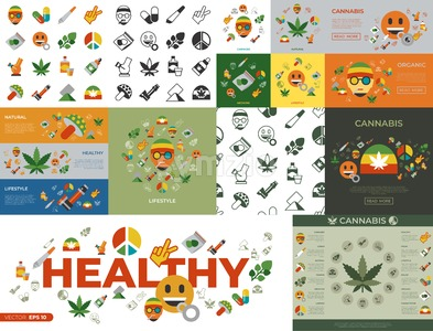 Digital vector cannabis healthy medicine icons set, flat style infographics Stock Vector