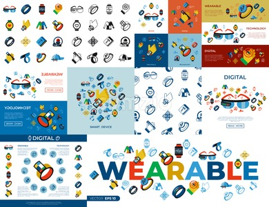 Digital vector wearable technology icons set infographics Stock Vector