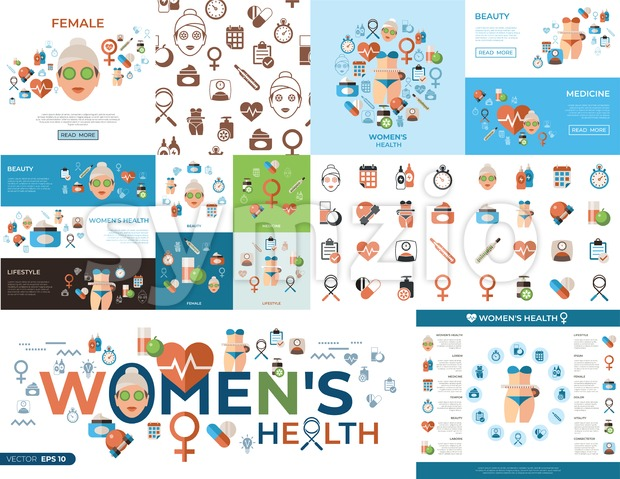 Digital vector woman health icons set with drawn simple line art info graphic, flat style