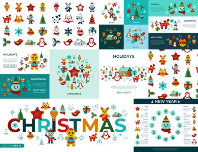 Digital vector merry christmas and new year simple icons set collection flat style infographics Stock Vector