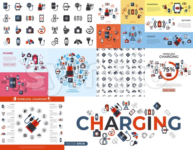 Digital vector wireless charging icons set with drawn simple line art info graphic, flat style Stock Vector