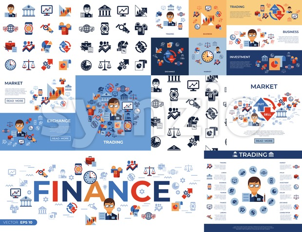 Digital vector financial trading market exchange simple icons set collection flat style infographics Stock Vector
