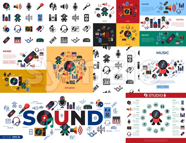 Digital vector studio sound music design and instruments simple icons set collection flat style infographics