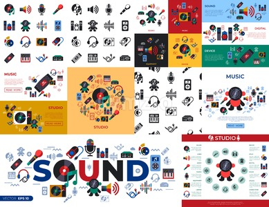 Digital vector studio sound music design and instruments simple icons set collection flat style infographics Stock Vector