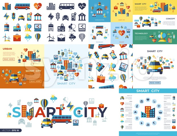 Digital vector smart city icons set with drawn simple line art info graphic, flat style Stock Vector