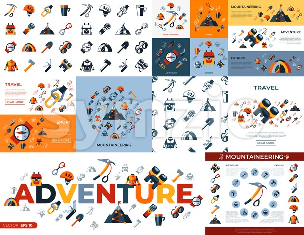 Digital vector mountaineering technology icons set infographics