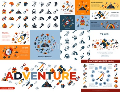 Digital vector mountaineering technology icons set infographics Stock Vector