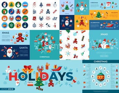 Digital vector merry christmas and winter holidays simple icons set collection flat style infographics Stock Vector