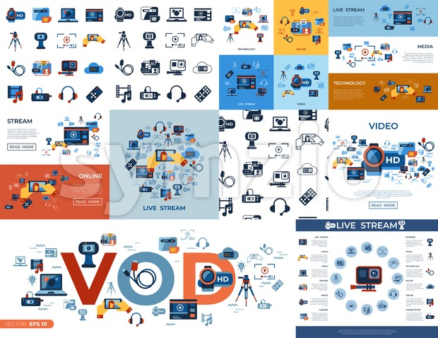 Digital vector video on demand online streaming technology simple icons set collection flat style infographics Stock Vector