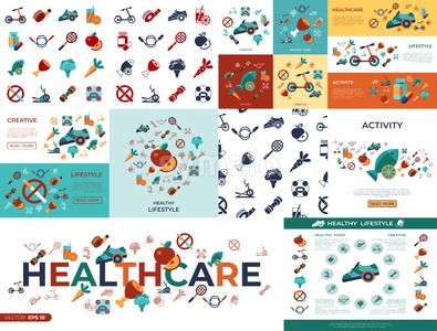 Digital vector healthy activity lifestyle icons set infographics Stock Vector