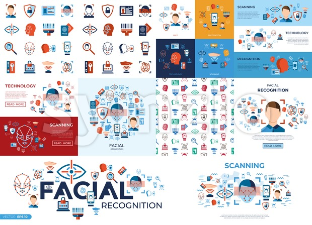 Digital vector facial recognition icons set with drawn simple line art info graphic, flat style Stock Vector