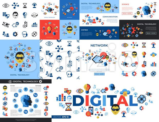 Digital vector pixel art digital technology and network icons set infographics Stock Vector