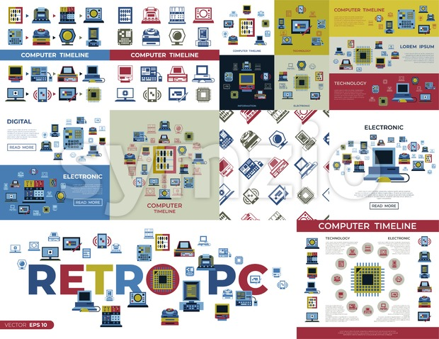 Digital vector personal computer timeline technology icons set infographics