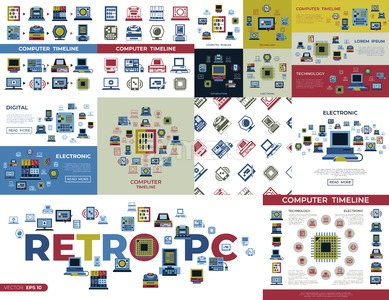 Digital vector personal computer timeline technology icons set infographics Stock Vector