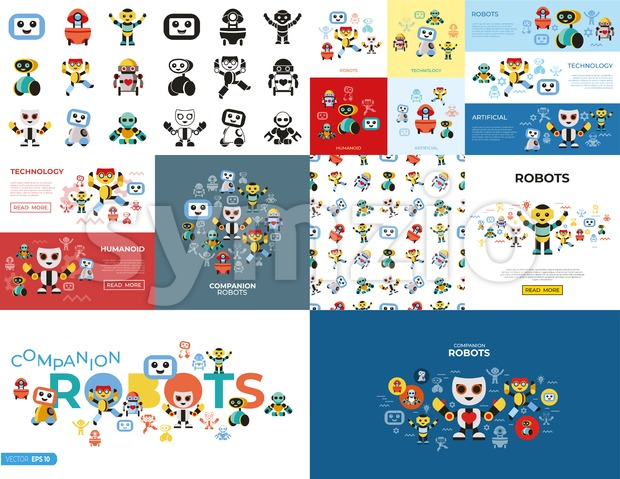 Digital vector companion robots icons set with drawn simple line art info graphic, flat style