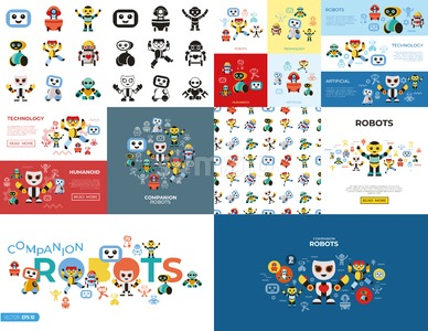 Digital vector companion robots icons set with drawn simple line art info graphic, flat style Stock Vector
