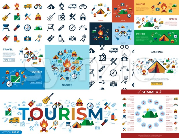 Digital vector summer camping sport activities simple icons set collection flat style infographics