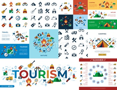 Digital vector summer camping sport activities simple icons set collection flat style infographics Stock Vector
