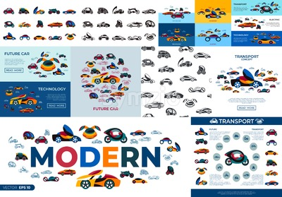 Digital vector future car concept simple icons set collection flat style infographics Stock Vector