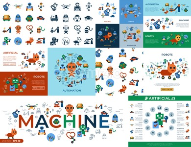 Digital vector machine automation and artificial intelligence robots simple icons set collection flat style infographics Stock Vector