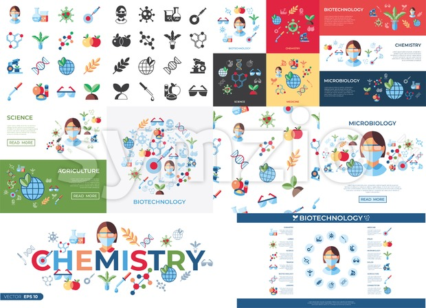 Digital vector biotechnology icons set with drawn simple line art info graphic, flat style Stock Vector