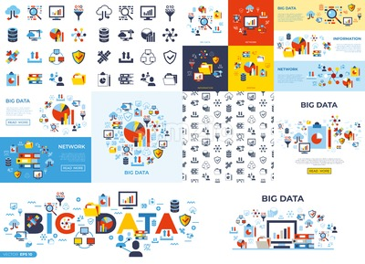 Digital vector big data and information icons set with drawn simple line art info graphic, flat style Stock Vector