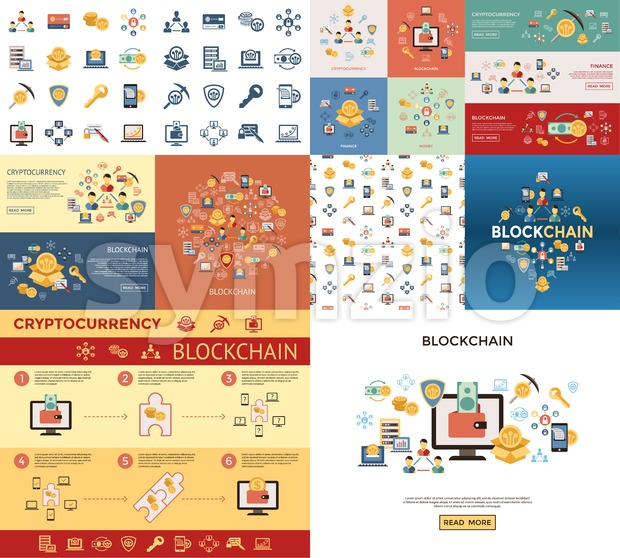 Digital vector line icons set blockchain pack illustration with elements for cryptocurrency