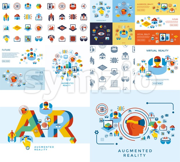 Digital vector augmented and virtual reality icons set infographics