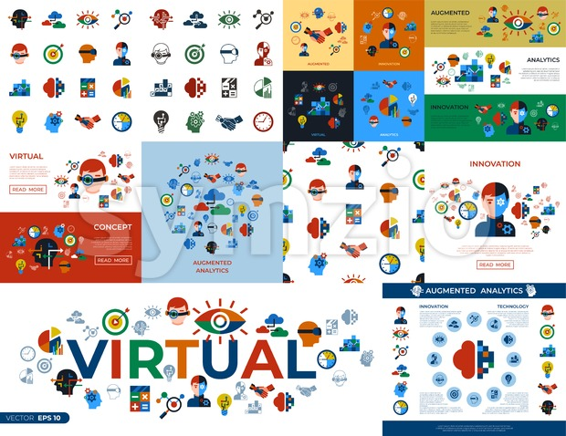 Digital vector augmented analytics and innovation technology icons set infographics