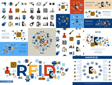 Digital vector rfid radio frequency identification chip simple icons set collection flat style infographics Stock Vector