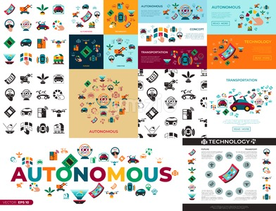 Digital vector autonomous transportation technology icons set infographics Stock Vector