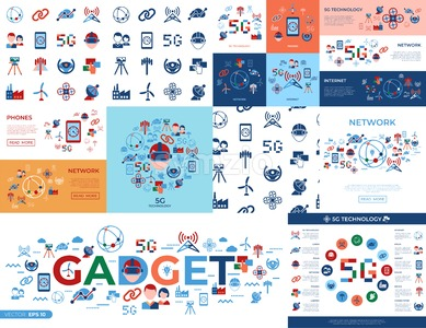 Digital vector mobile technology simple icons set collection flat style Stock Vector