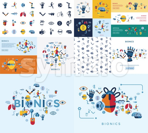 Digital vector bionics and artificial intelligence icon set infographics