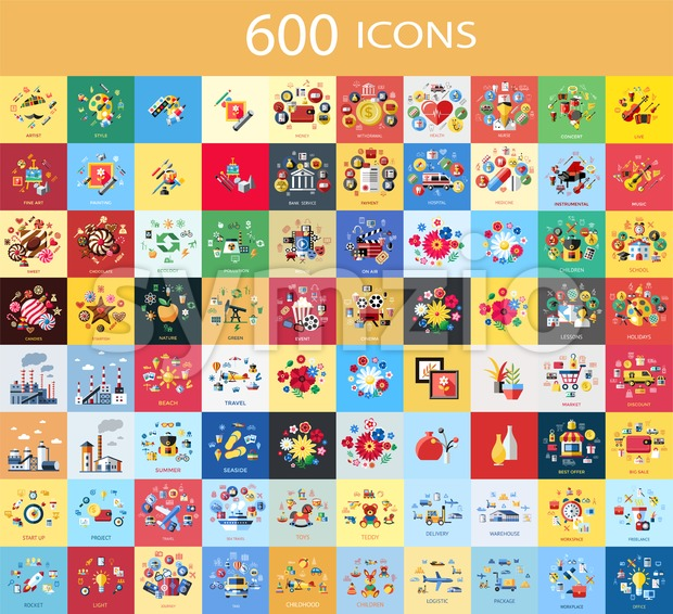 Digital vector 600 color icons set collection flat style Stock Vector
