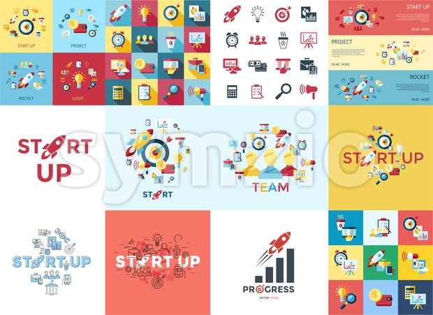Digital vector red startup icons with drawn simple line art info graphic, presentation with rocket, project and business elements around promo Stock Vector