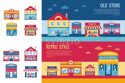 Digital vector yellow supermarket icons with drawn simple line art info graphic, presentation with commerce, shopping building elements around promo Stock Vector