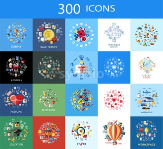 Digital vector 300 color icons set collection flat style Stock Vector