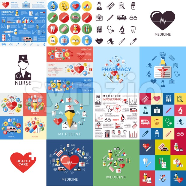 Digital vector red yellow blue medical icons with drawn simple line art info graphic, ambulance tooth pills nurse heart tubes syringe medicine dropper Stock Vector
