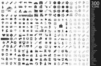 Digital vector 300 black icons set collection flat style Stock Vector